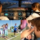 Pilots in cockpit, children playing outside, bullied child