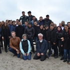 Group Dutch and Danish studentscivil engineering on the beach